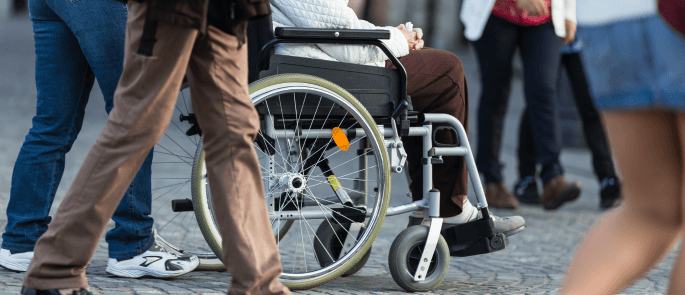 Vulnerable adult in a wheelchair