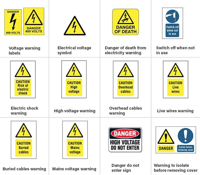 Electrical Safety Signs : Electrical safety symbols signs do you know them