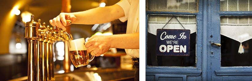 bartender pouring beer next to pub open sign