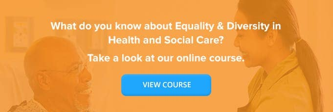 Equality and Diversity in Health and Social Care Online Training Course Banner From High Speed Training