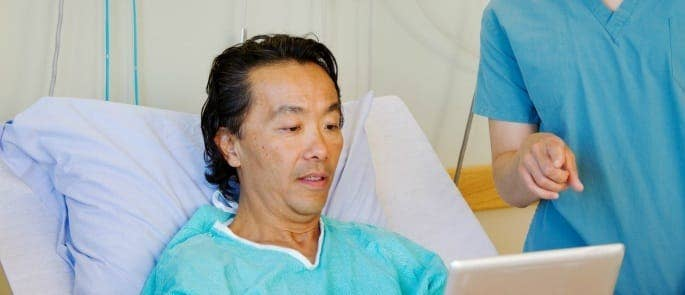 patient choosing healthcare options from ipad