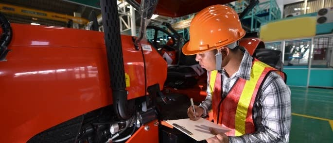 Responsible person carrying out a PUWER inspection of equipment