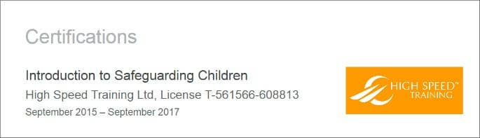 Certification on Linkedin for High Speed Training Safeguarding Course