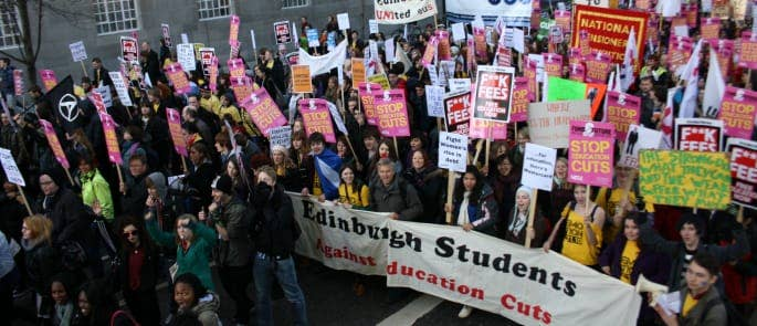 In Edinburgh students march against the rise in student fees and cuts