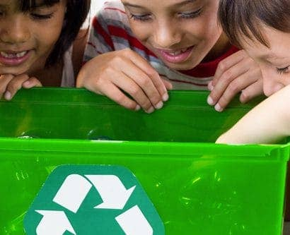 children doing recycling activity