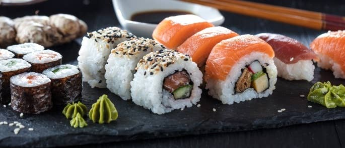 Sushi served in a restaurant