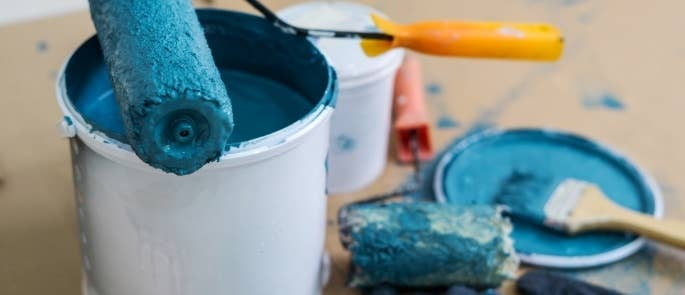 Flammable bucket of blue paint